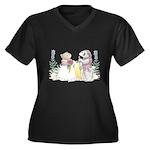 The Couple Women's Plus Size V-Neck Dark T-Shirt
