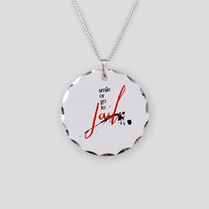 Smile or Go to Jail Necklace Circle Charm