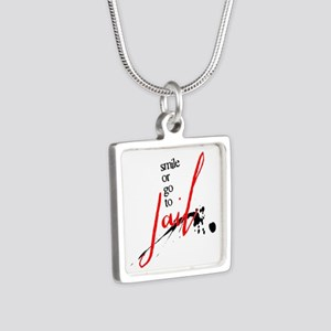 Smile or Go to Jail Silver Square Necklace