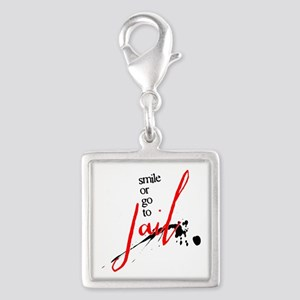Smile or Go to Jail Silver Square Charm