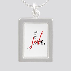 Smile or Go to Jail Silver Portrait Necklace