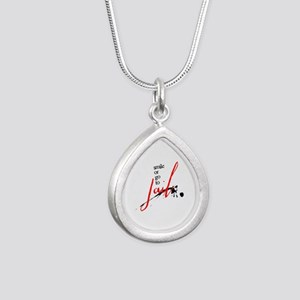 Smile or Go to Jail Silver Teardrop Necklace