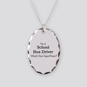 School Bus Driver Necklace Oval Charm