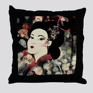 Dark Teal Geisha Throw Pillow