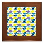 unicornfish tang surgeonfish pattern Framed Tile