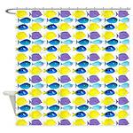 unicornfish tang surgeonfish pattern Shower Curtai