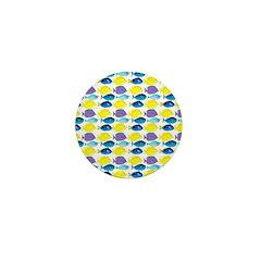 unicornfish tang surgeonfish pattern Mini Button (