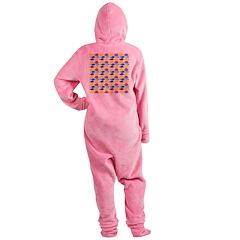 unicornfish tang surgeonfish pattern Footed Pajamas