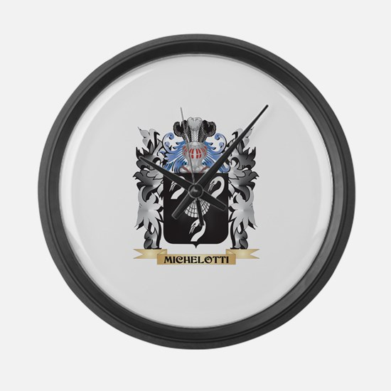 Michelotti Coat of Arms - Family Large Wall Clock