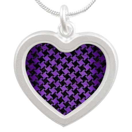 HOUNDSTOOTH2 BLACK MARBLE & Silver Heart Necklace