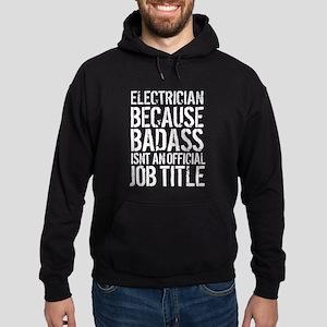 Badass Electrician Job Title Hoodie (dark)