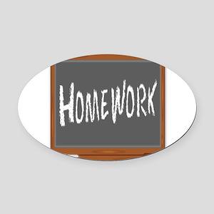 Homework Oval Car Magnet