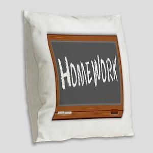 Homework Burlap Throw Pillow