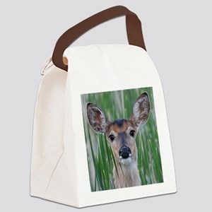 Deer in the Cattails Canvas Lunch Bag