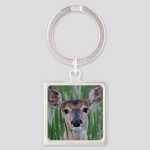 Deer in the Cattails Square Keychain