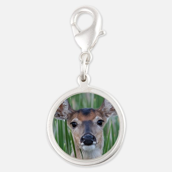 Deer in the Cattails Silver Round Charm