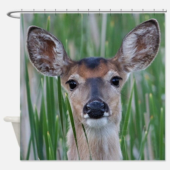 Deer in the Cattails Shower Curtain
