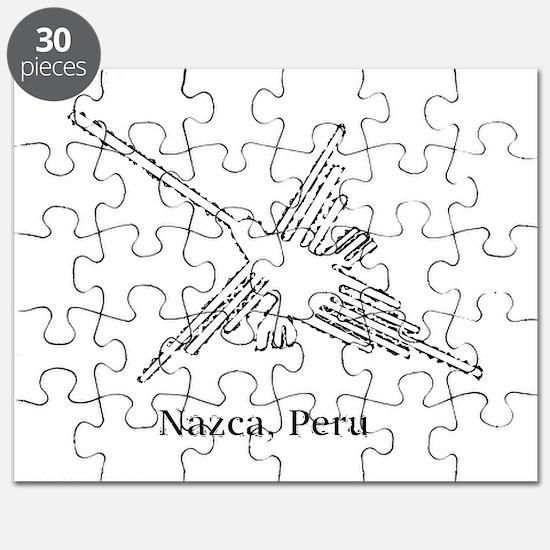 White Nazca Lines Hummingbird Puzzle