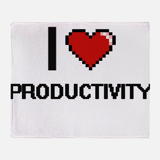 I Love Productivity Digital Design Throw Blanket