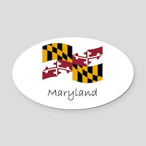 Waving Maryland Flag Oval Car Magnet