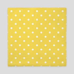 Yellow, Canary: Polka Dots Pattern (Sm Queen Duvet