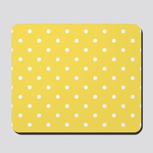 Yellow, Canary: Polka Dots Pattern (Smal Mousepad