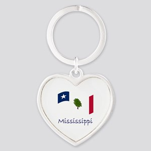 Waving Mississippi Secession Flag  Heart Keychain