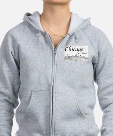 Chicago on White Zip Hoodie