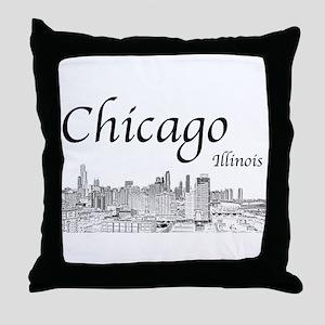 Chicago on White Throw Pillow