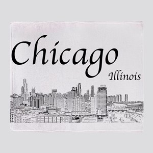 Chicago on White Throw Blanket