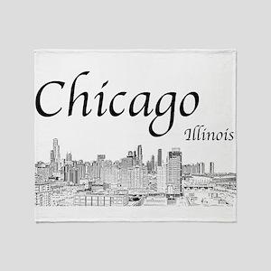 Chicago on White Throw Blanket
