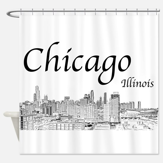 Chicago on White Shower Curtain