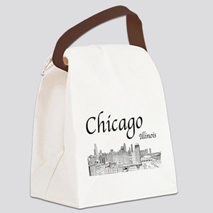 Chicago on White Canvas Lunch Bag