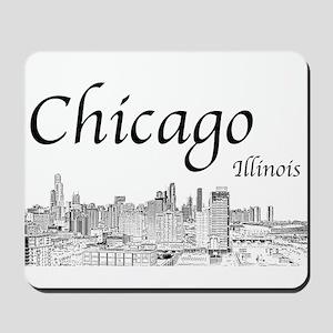 Chicago on White Mousepad