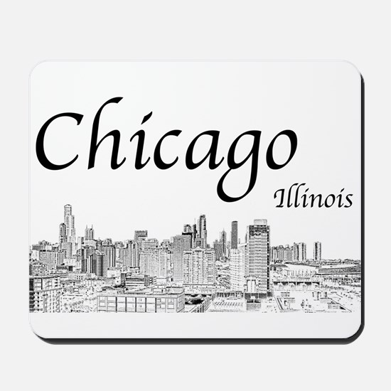 Chicago on White Mousepad