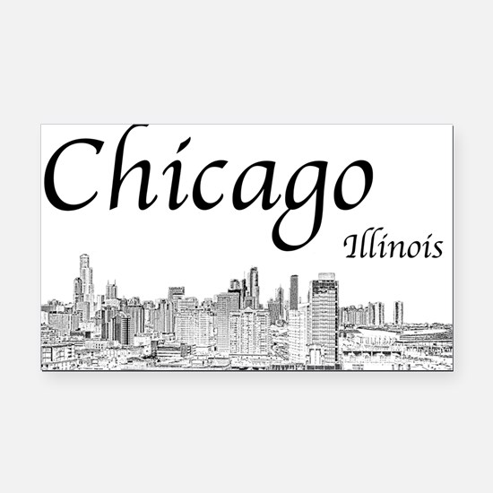 Chicago on White Rectangle Car Magnet