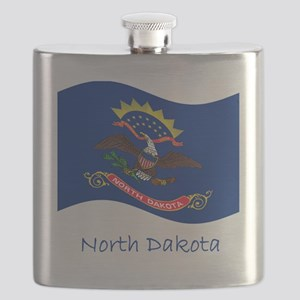 Waving North Dakota Flag And Name Flask