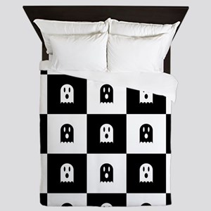 Cute Scary Ghost Checkered Pattern Queen Duvet