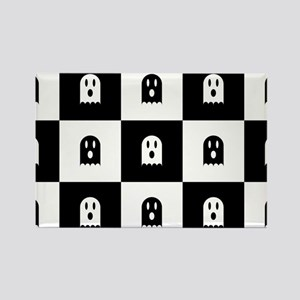 Cute Scary Ghost Checkered Patter Rectangle Magnet