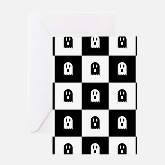 Cute Scary Ghost Checkered Pattern Greeting Card