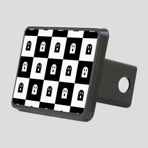 Cute Scary Ghost Checkered Rectangular Hitch Cover