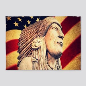 USA patriotic native american 5'x7'Area Rug