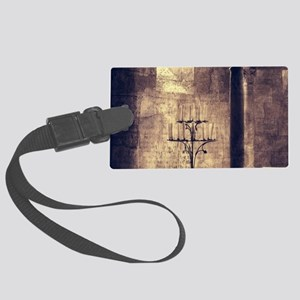 vintage ruins church candles Large Luggage Tag