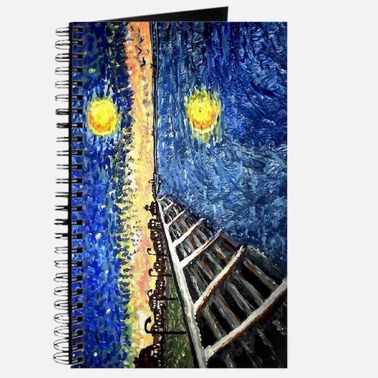 Starry Night Lake Front Art Journal