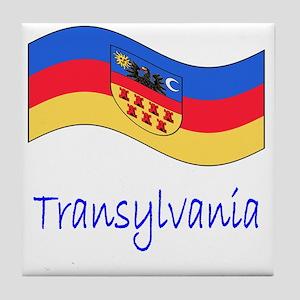 Waving Transylvania Historical Flag Tile Coaster