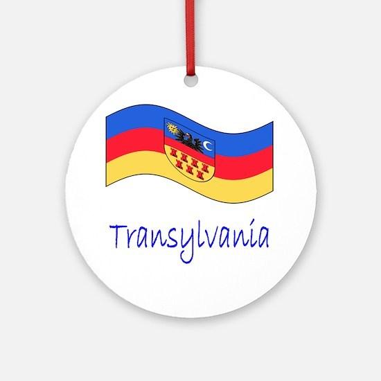 Waving Transylvania Historical Flag Round Ornament