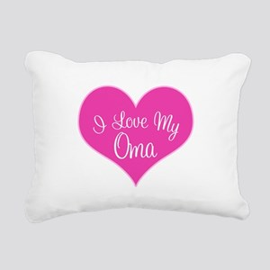 I Love My Oma Pink Heart Rectangular Canvas Pillow