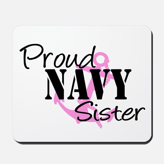 Proud Navy Sister - Pink Anch Mousepad