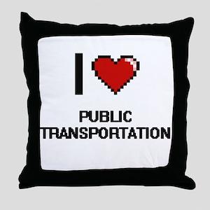 I Love Public Transportation Digital Throw Pillow