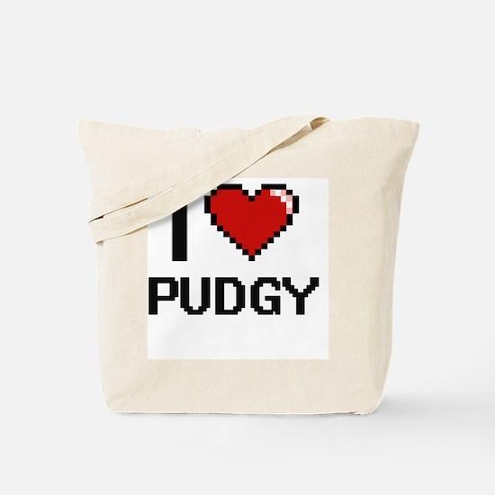 I Love Pudgy Digital Design Tote Bag